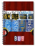 Volkswagen Vw Bus Vintage Classic Retro Vehicle Recycled License Plate Art Usa Spiral Notebook