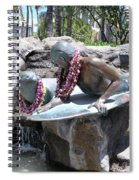 Waikiki Statue - Surfer Boy And Seal Spiral Notebook
