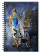 Waking Aside Her Bike 68 Spiral Notebook