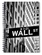 Wall St Sign New York In Black And White Spiral Notebook