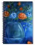 Warm Blue Floral Embrace Painting Spiral Notebook