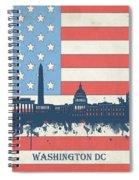 Washington Dc Skyline Usa Flag 3 Spiral Notebook