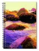 Water Color Like Rocks In Ocean At Sunset Spiral Notebook