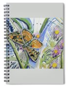 Watercolor - Checkerspot Butterfly With Wildflowers Spiral Notebook