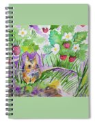 Watercolor - Field Mouse With Wild Strawberries Spiral Notebook