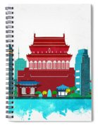 Watercolor Illustration Of Beijing Spiral Notebook