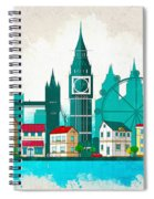Watercolor Illustration Of London Spiral Notebook