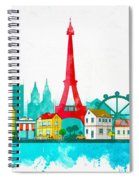 Watercolor Illustration Of Paris Spiral Notebook