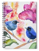 Watercolor - Masked Flowerpiercers With Flowers Spiral Notebook