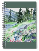 Watercolor - Mountain Pines And Indian Paintbrush Spiral Notebook