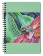 Watercolor - Small Tree Frog On A Colorful Flower Spiral Notebook