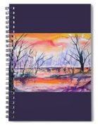 Watercolor - Sunrise At The Pond Spiral Notebook