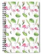 Watercolour Tropical Beauty Flamingo Family Spiral Notebook