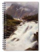 Waterfall In Norweigian Mountain Landscape Spiral Notebook
