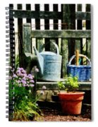 Watering Can And Blue Basket Spiral Notebook