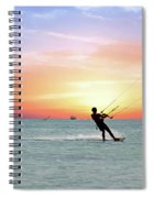 Watersport On Thecaribbean Sea At Aruba Island At Sunset Spiral Notebook