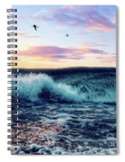 Waves Crashing At Sunset Spiral Notebook