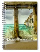 Waves Smash Into The Pier Spiral Notebook