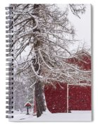 Wayside Inn Red Barn Covered In Snow Storm Reflection Spiral Notebook