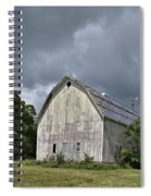 Weathered Barn And Silo Under A Cloudy Sky Spiral Notebook