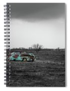 Weathered - Old Car In Texas Field Spiral Notebook