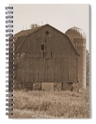 Weathered Wisconsin Barn In Sepia Spiral Notebook