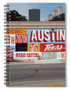Welcome To Historic Sixth Street Is A Famous Mural Located At 6th Street And I-35 Frontage Road, Austin, Texas - Stock Image Spiral Notebook