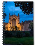 West Side Of Hexham Abbey At Night Spiral Notebook