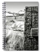 Western Barbed Wire Fence Black And White Spiral Notebook