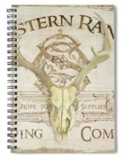 Western Range 3 Old West Deer Skull Wooden Sign Trading Company Spiral Notebook