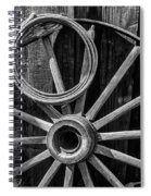 Western Rope And Wooden Wheel In Black And White Spiral Notebook