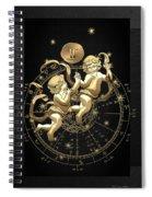 Western Zodiac - Golden Gemini - The Twins On Black Canvas Spiral Notebook