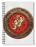 Western Zodiac - Golden Gemini - The Twins On White Leather Spiral Notebook