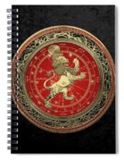 Western Zodiac - Golden Leo - The Lion On Black Velvet Spiral Notebook