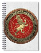 Western Zodiac - Golden Leo - The Lion On White Leather Spiral Notebook