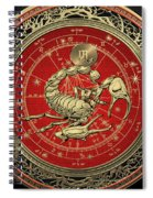 Western Zodiac - Golden Scorpio - The Scorpion On Black Velvet Spiral Notebook