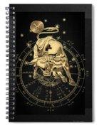 Western Zodiac - Golden Taurus - The Bull On Black Canvas Spiral Notebook