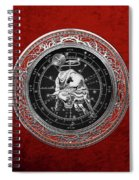 Western Zodiac - Silver Taurus - The Bull On Red Velvet Spiral Notebook