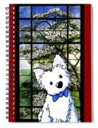 Westie At Dogwood Window Spiral Notebook
