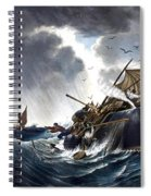 Whale Destroying Whaling Ship Spiral Notebook