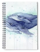 Whales Humpback Watercolor Mom And Baby Spiral Notebook