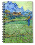 Wheat Fields In A Mountainous Landscape, By Vincent Van Gogh, 18 Spiral Notebook