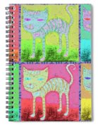 Whimsical Colorful Tabby Cat Pop Art Spiral Notebook