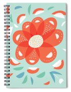 Whimsical Red Flower Spiral Notebook