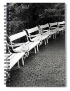 White Benches-  By Linda Wood Woods Spiral Notebook