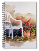 White Chair With Flower Pots Spiral Notebook