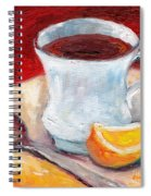 White Cup With Lemon Wedge And Spoon Grace Venditti Montreal Art Spiral Notebook