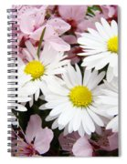 White Daisies Flowers Art Prints Spring Pink Blossoms Baslee Spiral Notebook
