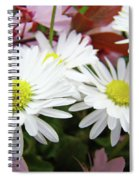 White Daisy Floral Art Print Canvas Pink Blossom Baslee Troutman Spiral Notebook