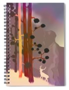 White Deer Climbing Mountains - Abstract And Colorful Forest Spiral Notebook